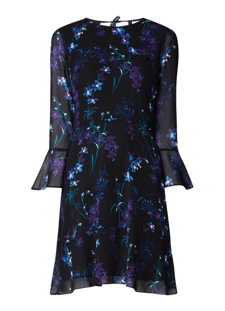 Warehouse Gilly A-lijn jurk met bloemendessin en trompetmouw zwart