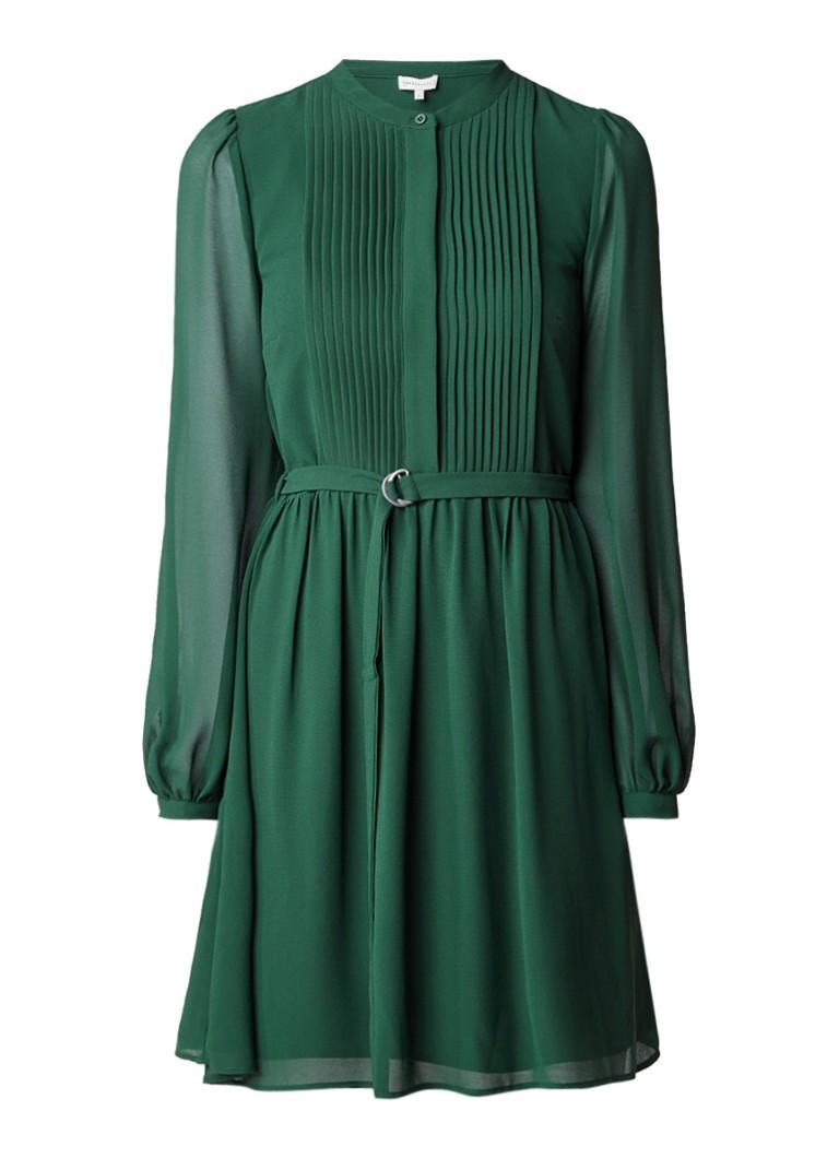 Warehouse A-lijn jurk met plooidetail en ceintuur mosgroen