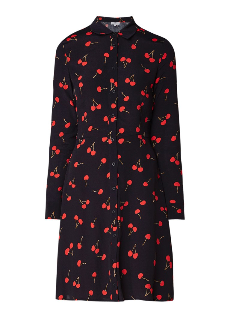 Warehouse Cherry blousejurk met kersendessin zwart