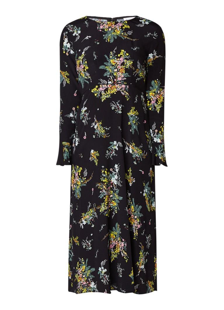 Warehouse Midi-dress met bloemendessin en trompetmouw zwart