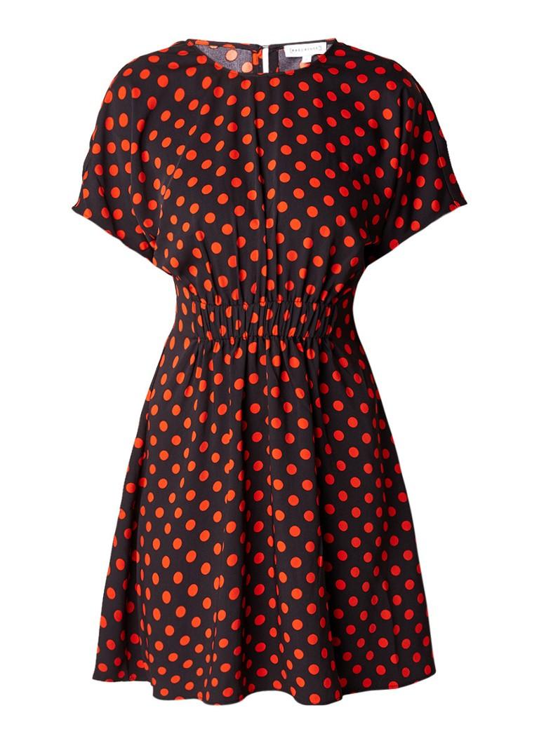Warehouse A-lijn jurk met gestipt dessin zwart