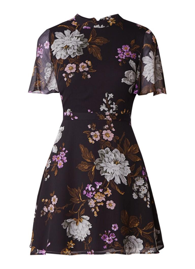 Warehouse Molly A-lijn jurk van crêpe met bloemendessin zwart