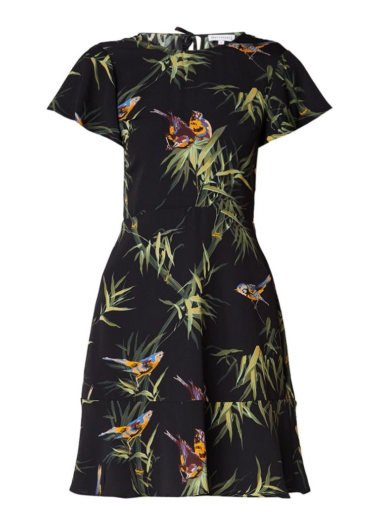 Warehouse Songbird A-lijn jurk met vogeldessin zwart