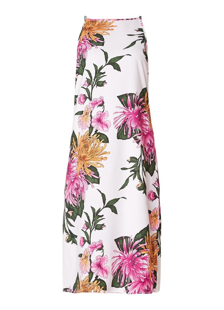 Warehouse Midi-jurk met bloemendessiin wit