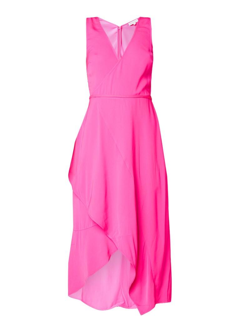 Warehouse Asymmetrische midi-jurk met overslag neonroze