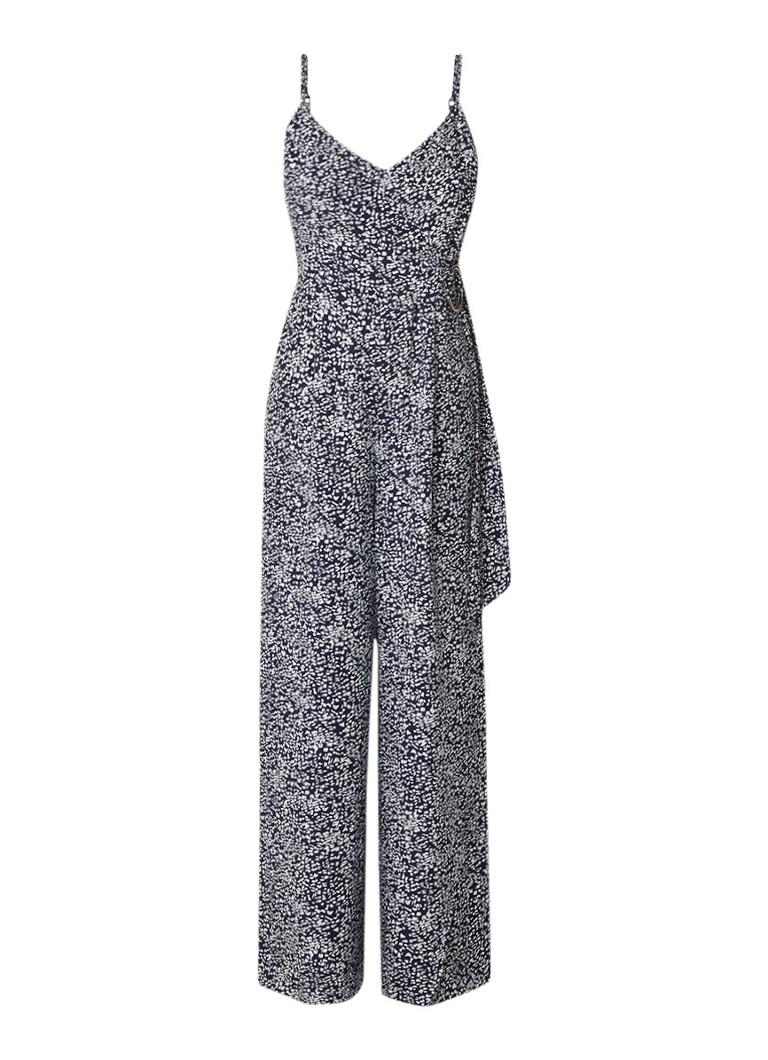 Warehouse Wrap jumpsuit met abstract dessin en metalen detail