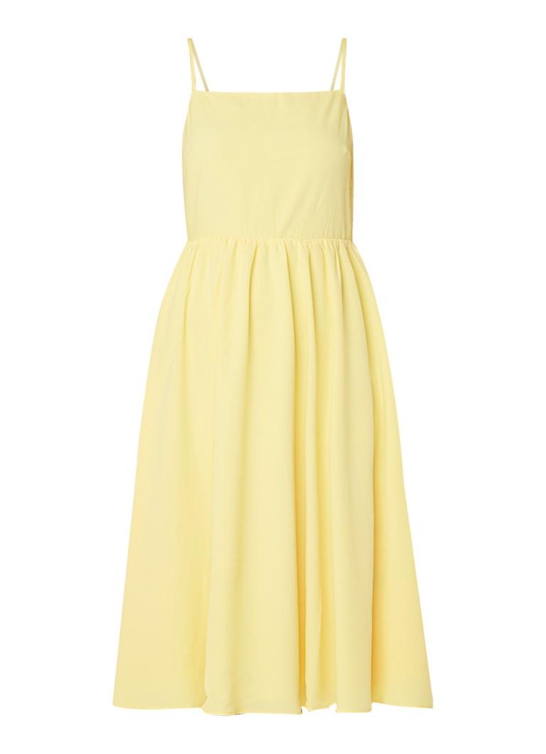 Warehouse Mouwloze A-lijn jurk met smockdetail geel