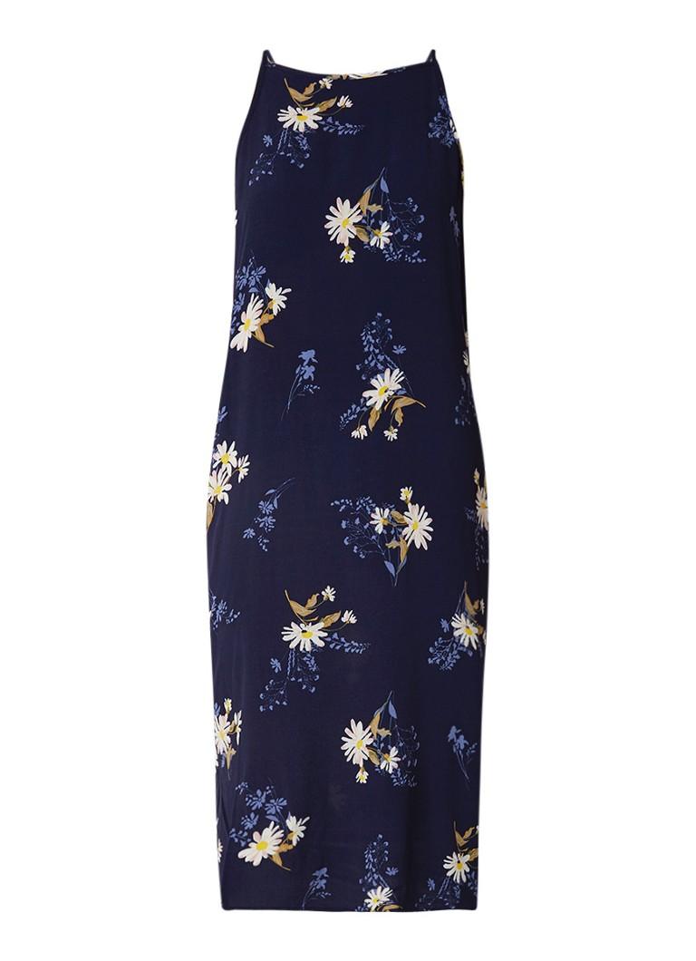 Warehouse Daisy midi-jurk met bloemdessin donkerblauw