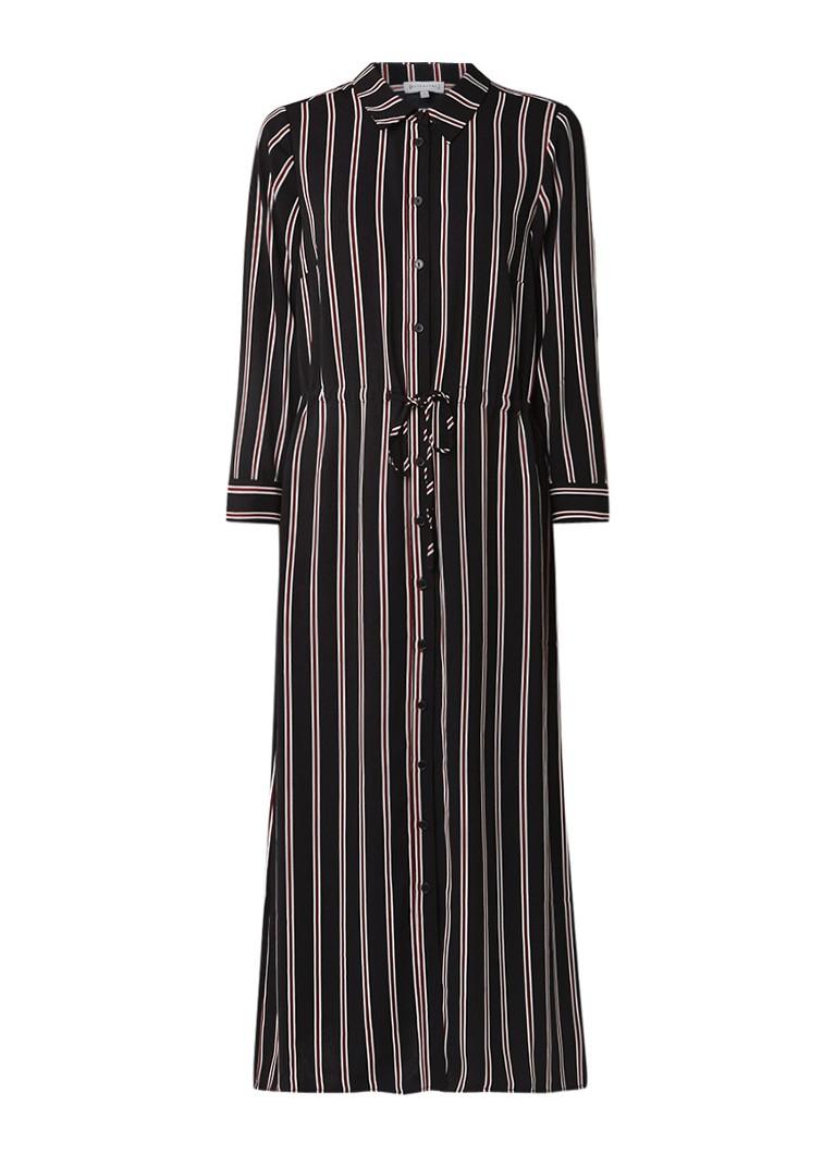 Warehouse Honey maxi blousejurk met streepdessin zwart