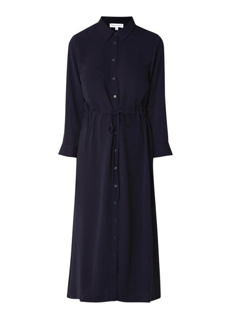 Warehouse Midi blousejurk met koorddetail donkerblauw