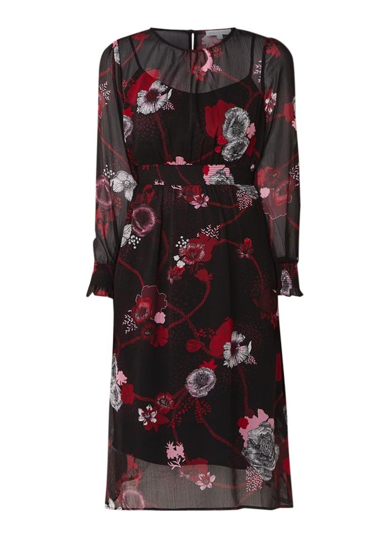 Warehouse Midi-jurk met bloemendessin en gesmockte details zwart