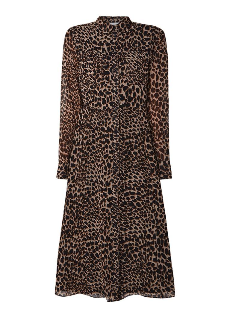 Warehouse Midi-jurk van crêpe met luipaarddessin bruin