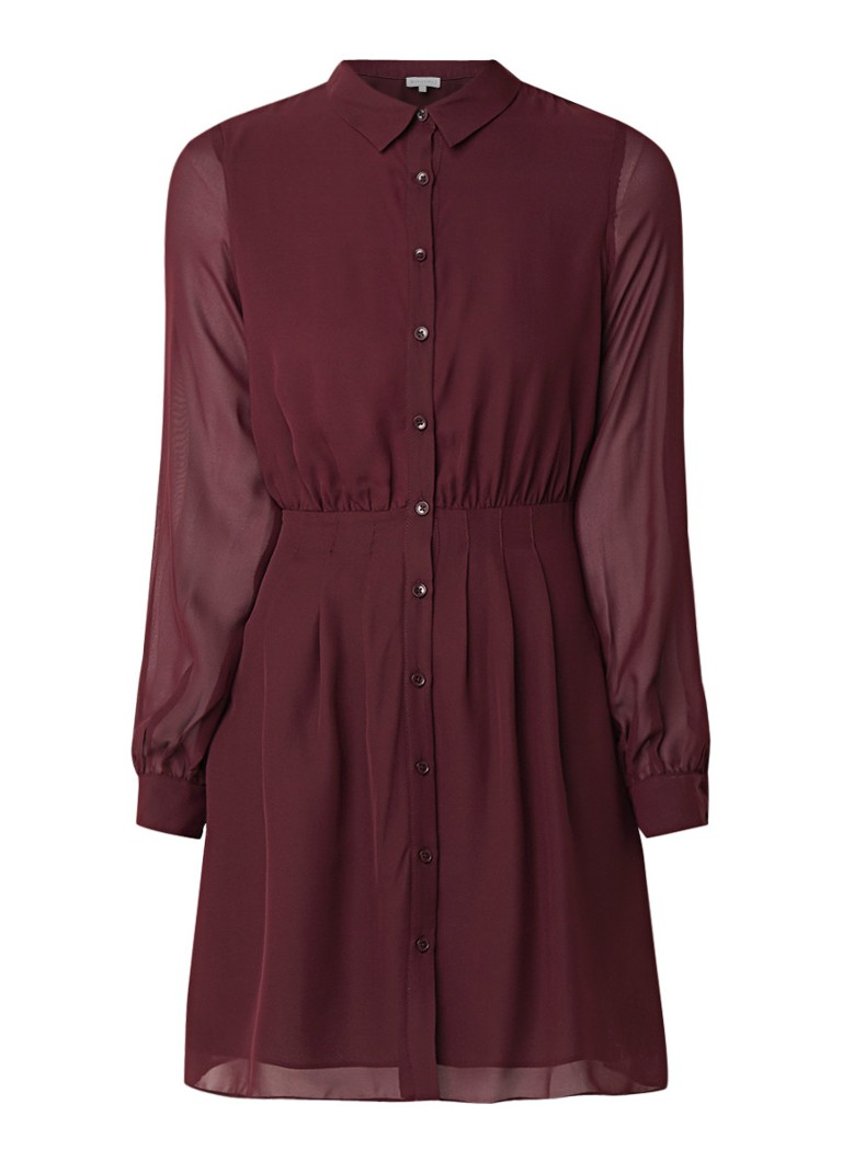 Warehouse A-lijn blousejurk van chiffon donkerrood