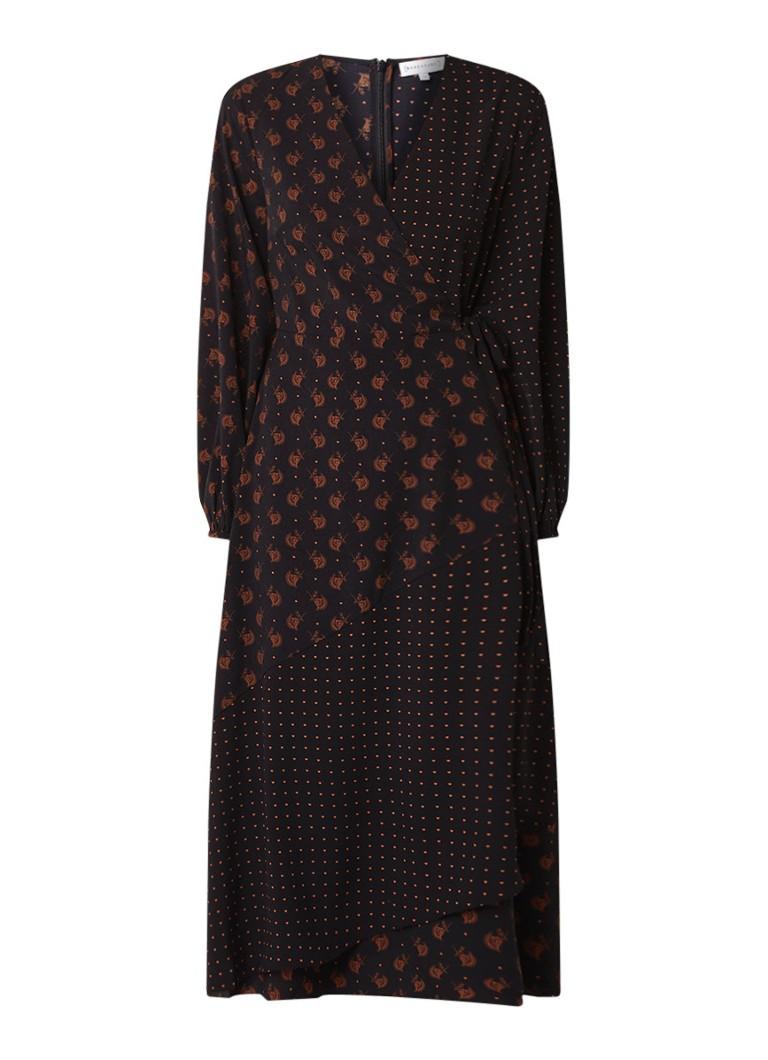 Warehouse Midi-jurk met overslagdetail en hartjesdessin zwart