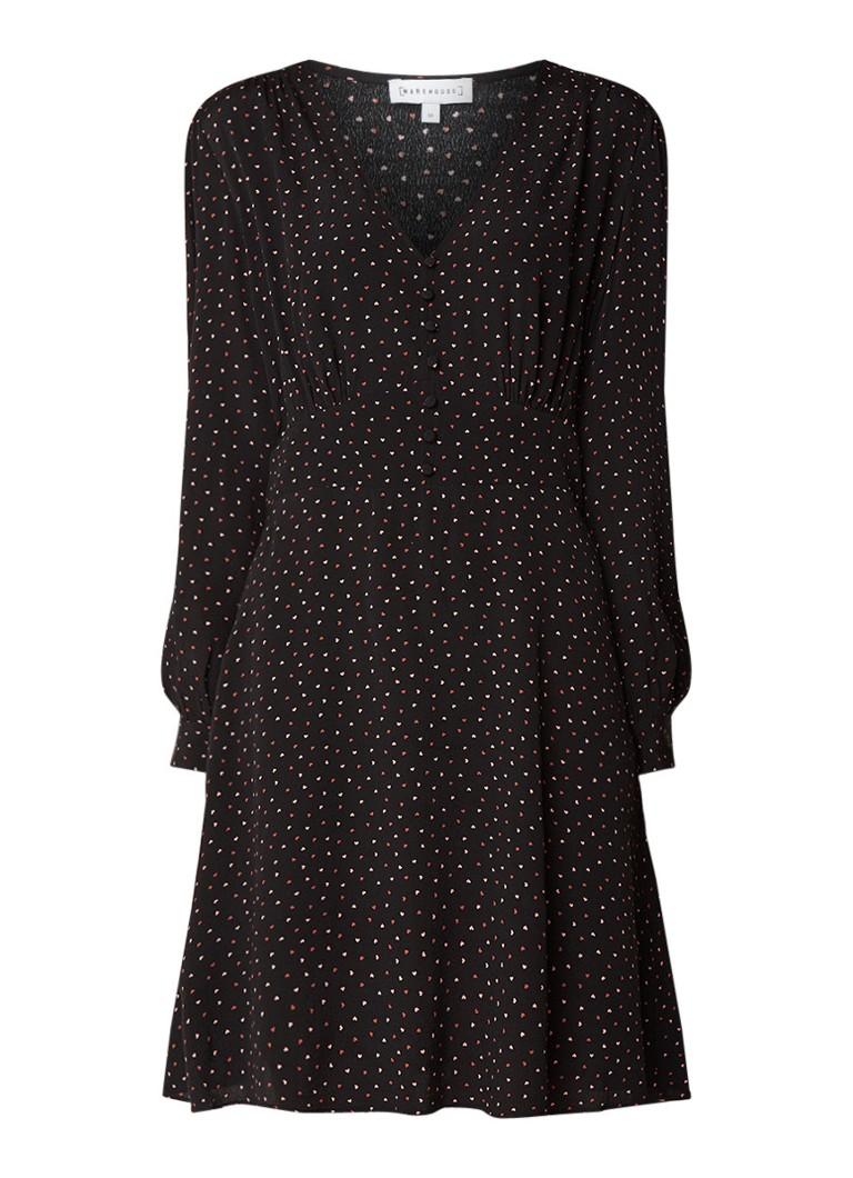 Warehouse Scatter Heart A-lijn jurk met dessin zwart