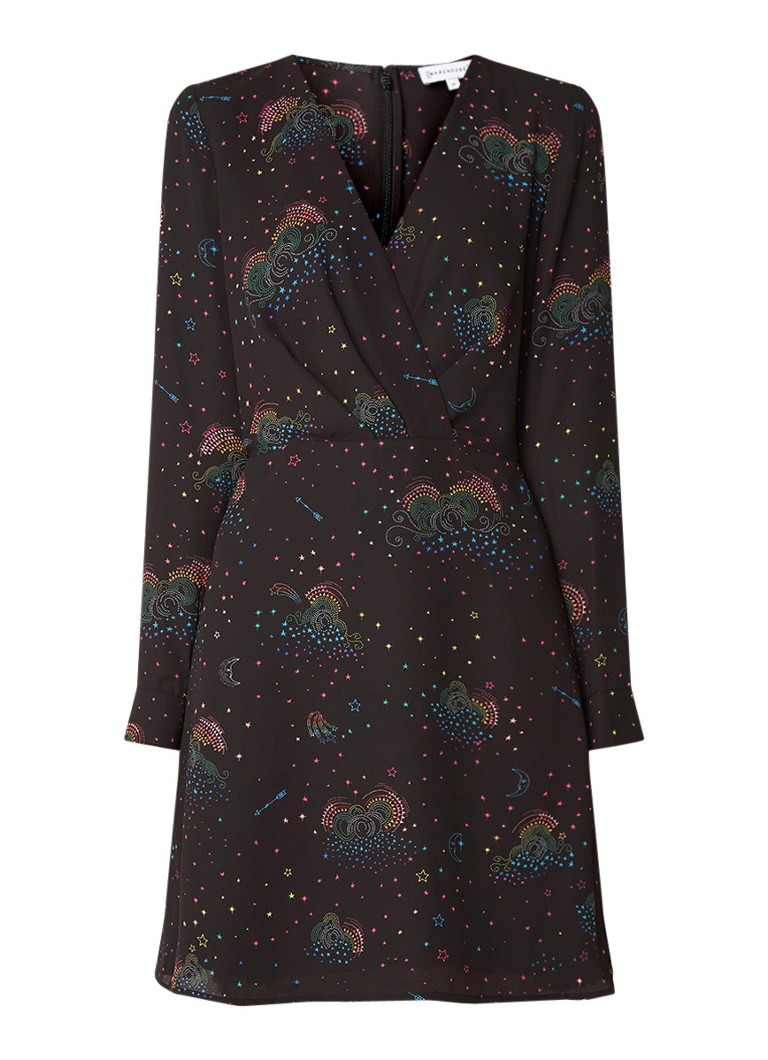 Warehouse Mini-jurk met dessin en plooidetail zwart
