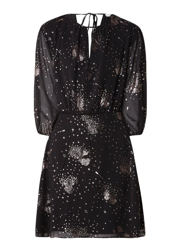 Warehouse Sparkle Star A-lijn jurk met glitter dessin zwart
