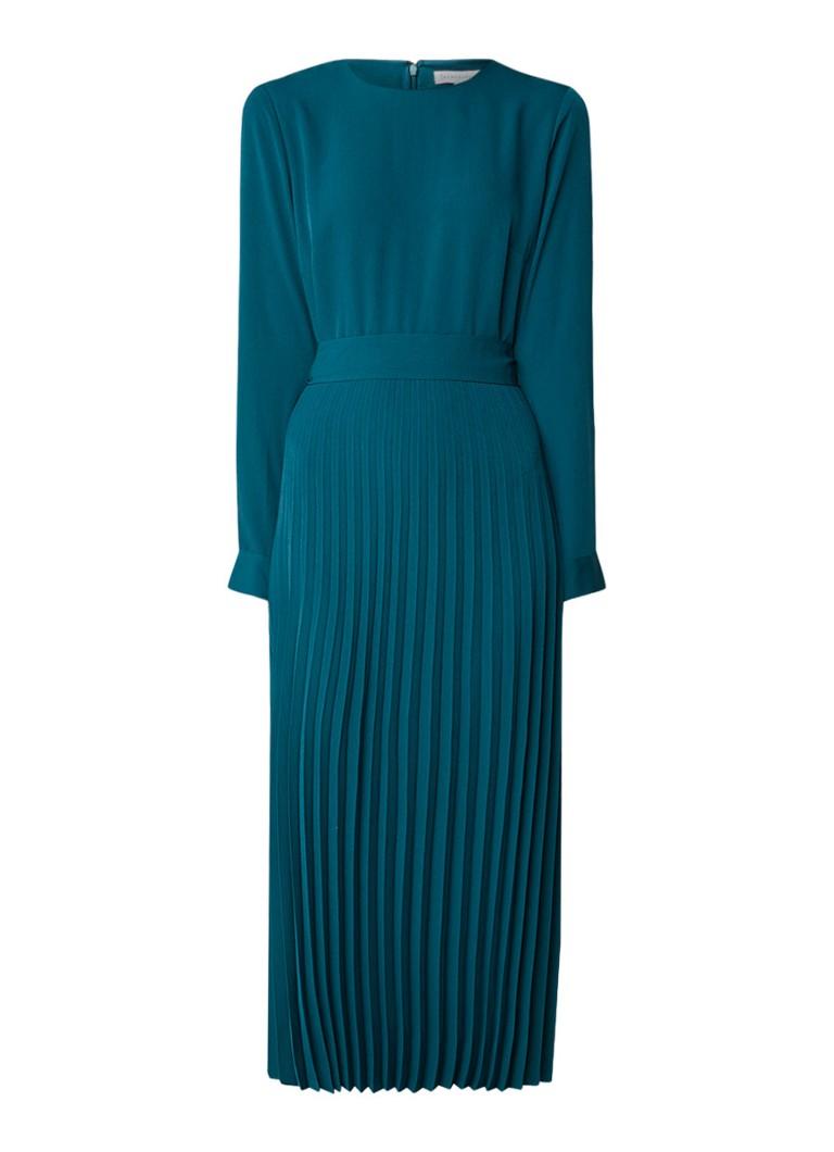 Warehouse Midi-jurk van crêpe met plissé en strikceintuur donkergroen