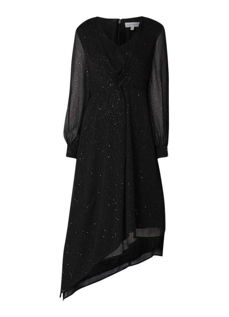 Warehouse Glitter semi-transparante midi-jurk met knoopdetail diepzwart