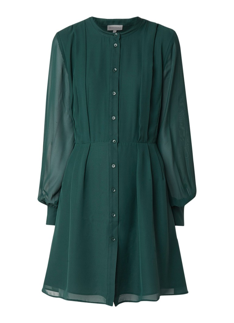 Warehouse Loose fit blousejurk van crêpe donkergroen