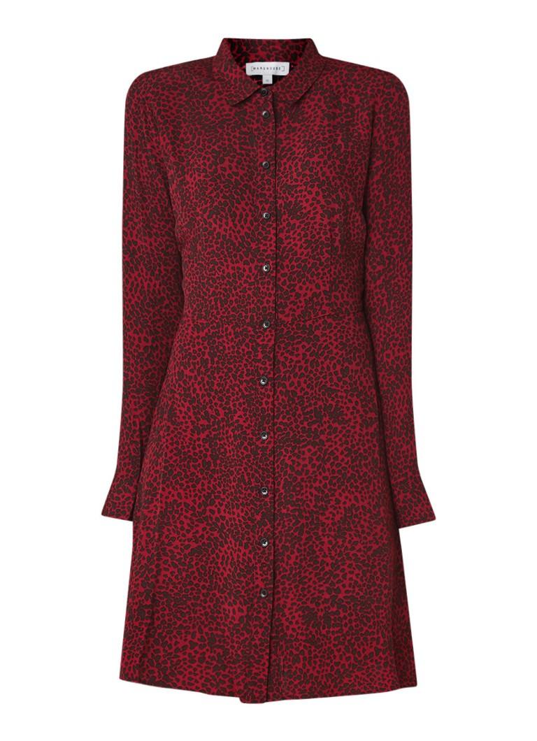 Warehouse Ditsy blousejurk met luipaarddessin donkerrood