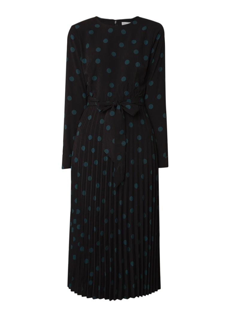 Warehouse Blousejurk met stippendessin en plissé zwart