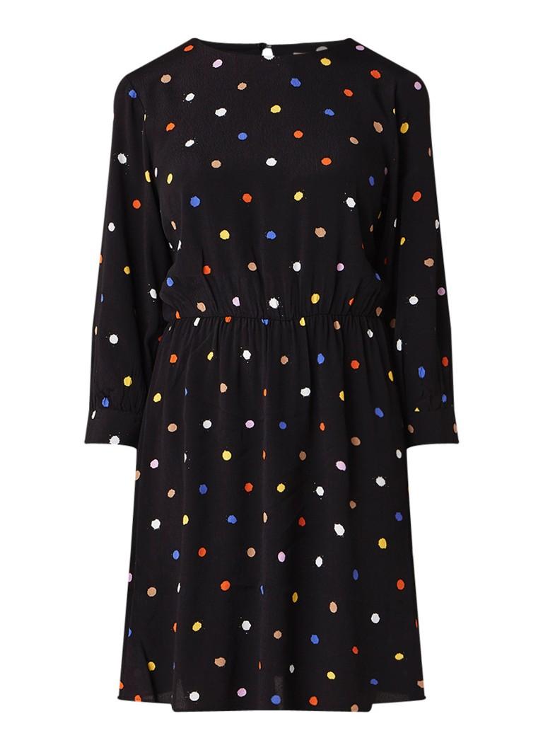 Warehouse Gestipte mini-jurk met rugdecolleté zwart