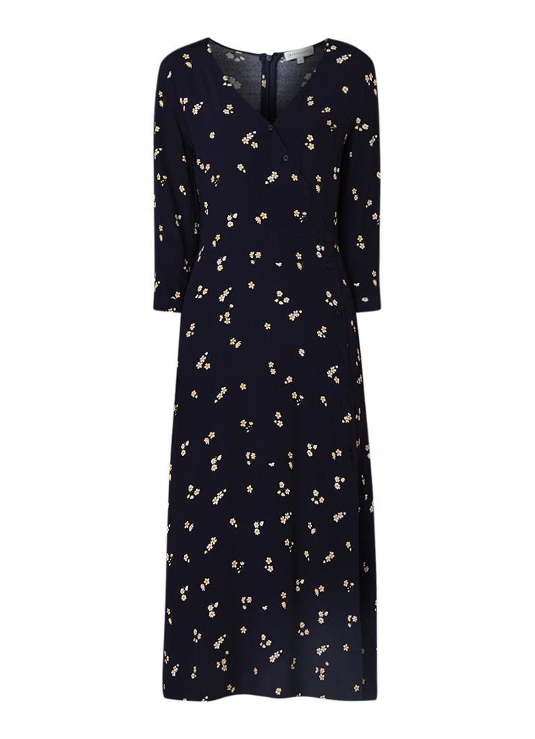 Warehouse Verity Ditsy maxi-jurk van crêpe met bloemendessin donkerblauw