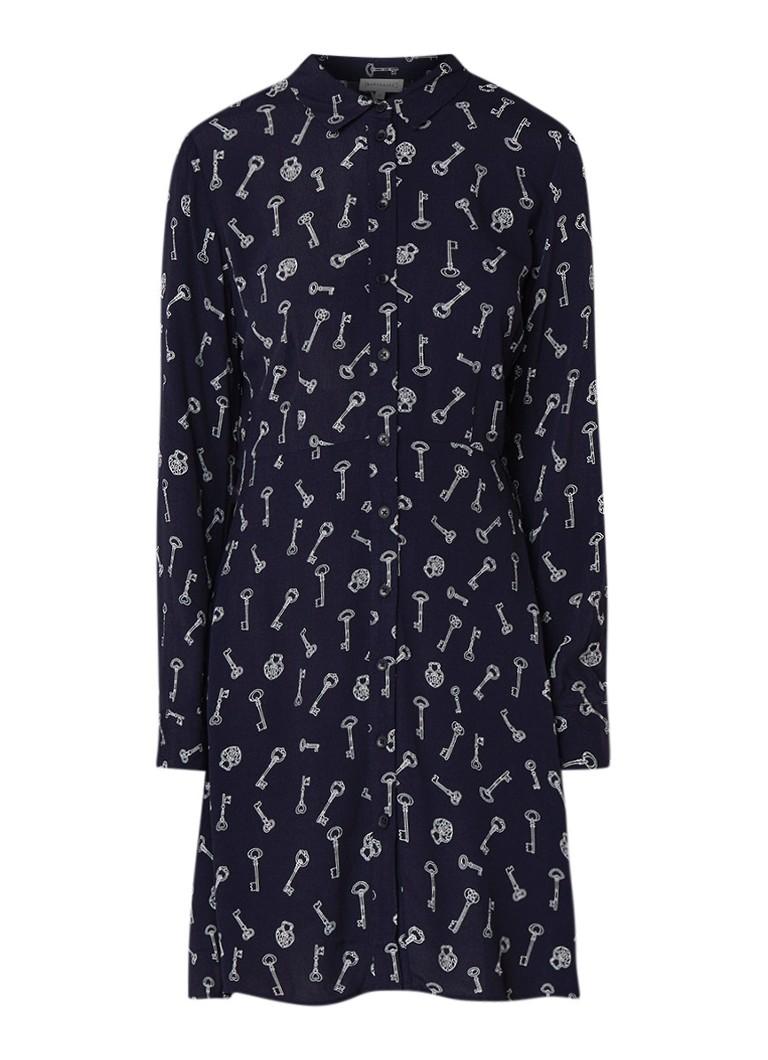 Warehouse Key blouse-jurk met sleutel dessin donkerblauw