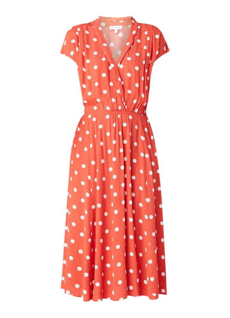 Warehouse Midi-jurk van crêpe met stippendessin koraal