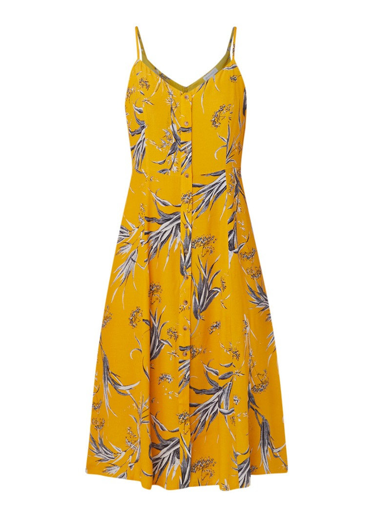 Warehouse Cami jurk met knoopsluiting en dessin okergeel