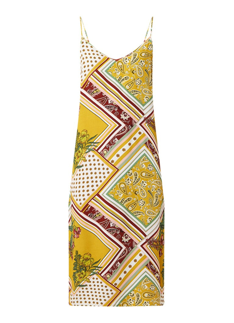 Warehouse Scarf cami midi-jurk met dessin geel