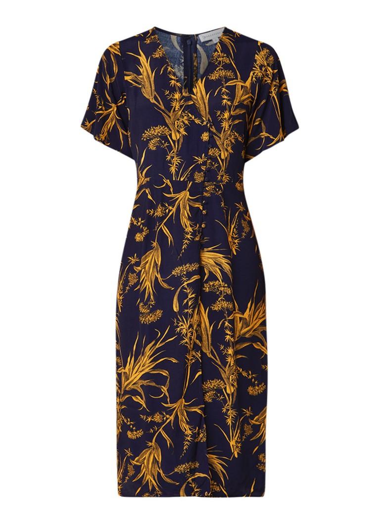 Warehouse Maxi-jurk met bloemendessin donkerblauw