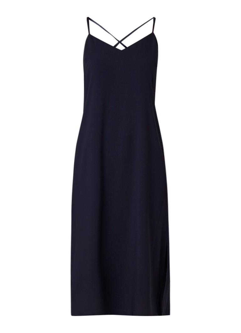 Warehouse Cami jurk met split en verstelbare bandjes donkerblauw