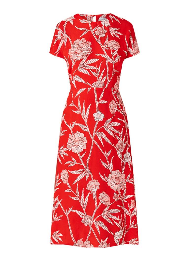 Warehouse Maxi-jurk met bloemendessin en rugdecolleté vuurrood
