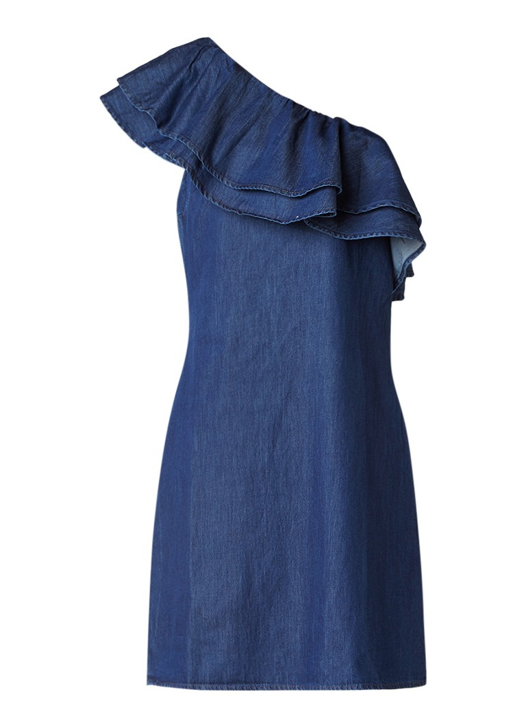 Warehouse One Shoulder jurk van denim met volant indigo