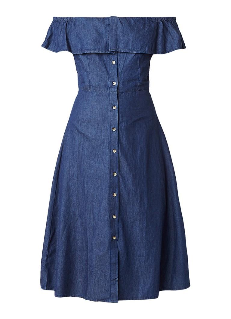 Warehouse Off shoulder denim A-lijn jurk met volant indigo