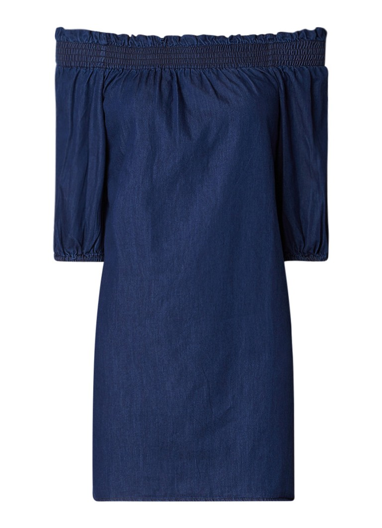 Warehouse Off shoulder tuniekjurk van denim indigo