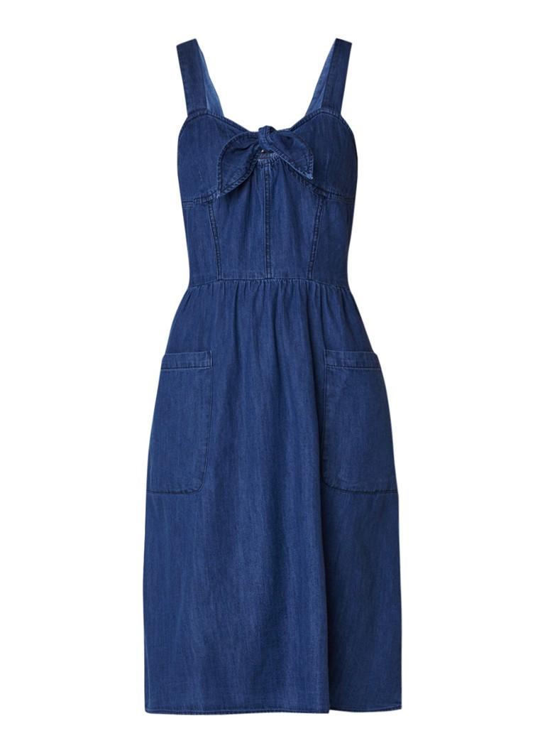 Warehouse A-lijn jurk van chambray met knoopdetail indigo