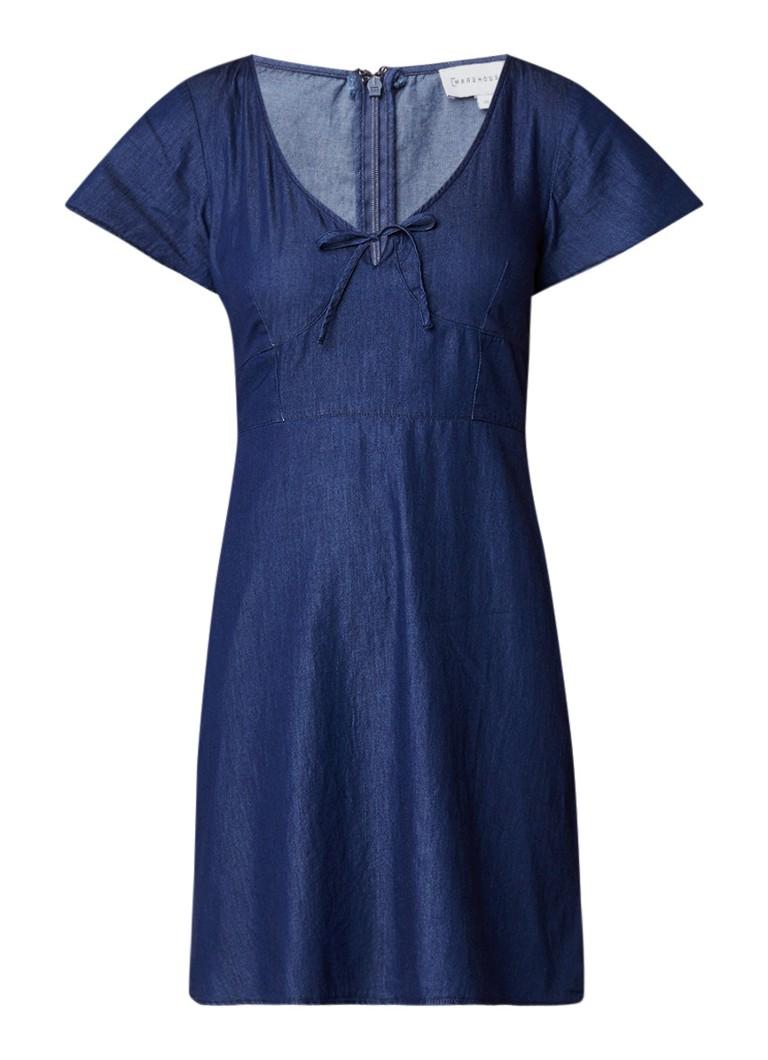 Warehouse Mini spijkerjurk met volantmouw indigo