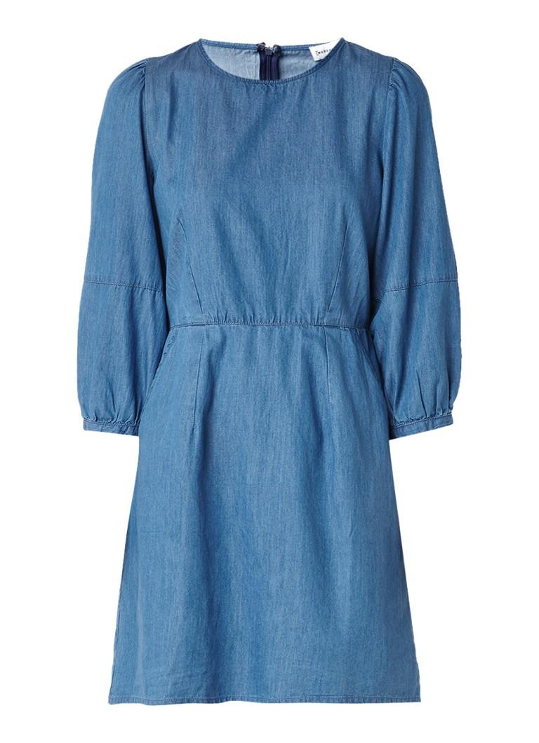 Warehouse Midi-jurk van denim met ballonmouw indigo