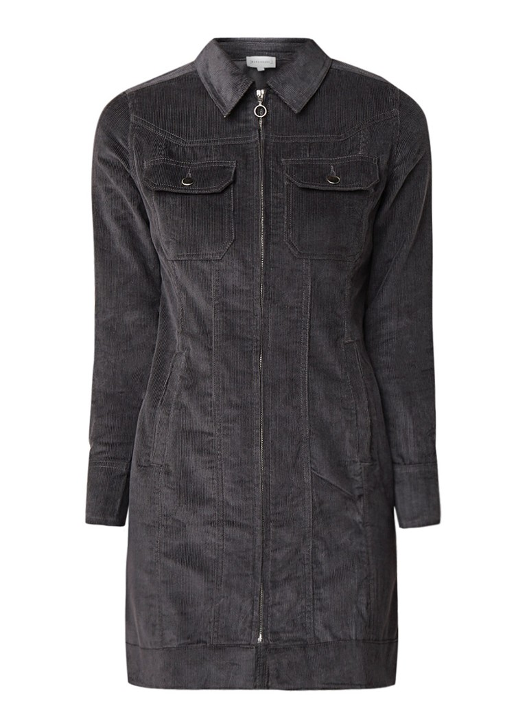 Warehouse Western mini-jurk van corduroy met ritssluiting donkergrijs
