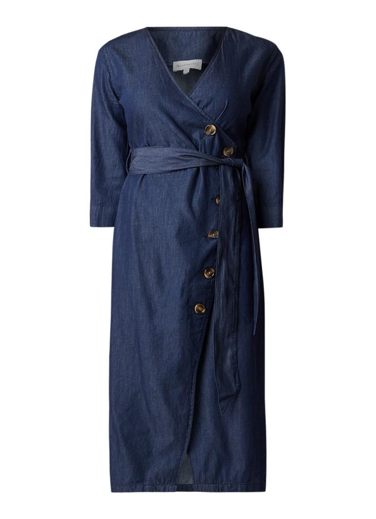 Warehouse A-lijn denim jurk met asymmetrische knoopsluiting indigo