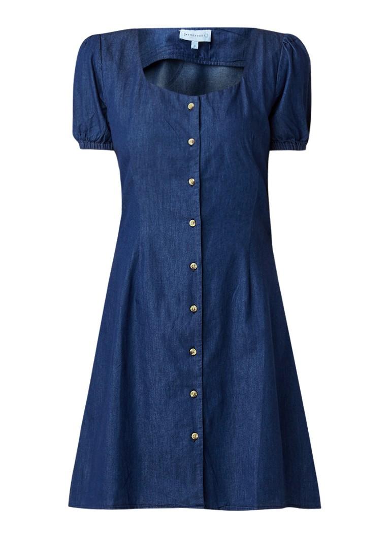 Warehouse Midi-jurk van chambray met pofmouw indigo