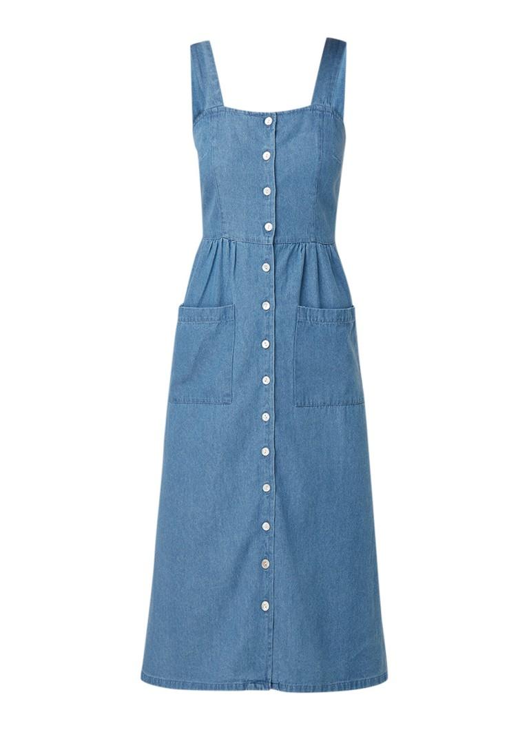 Warehouse Mouwloze midi-jurk van denim met knoopsluiting indigo