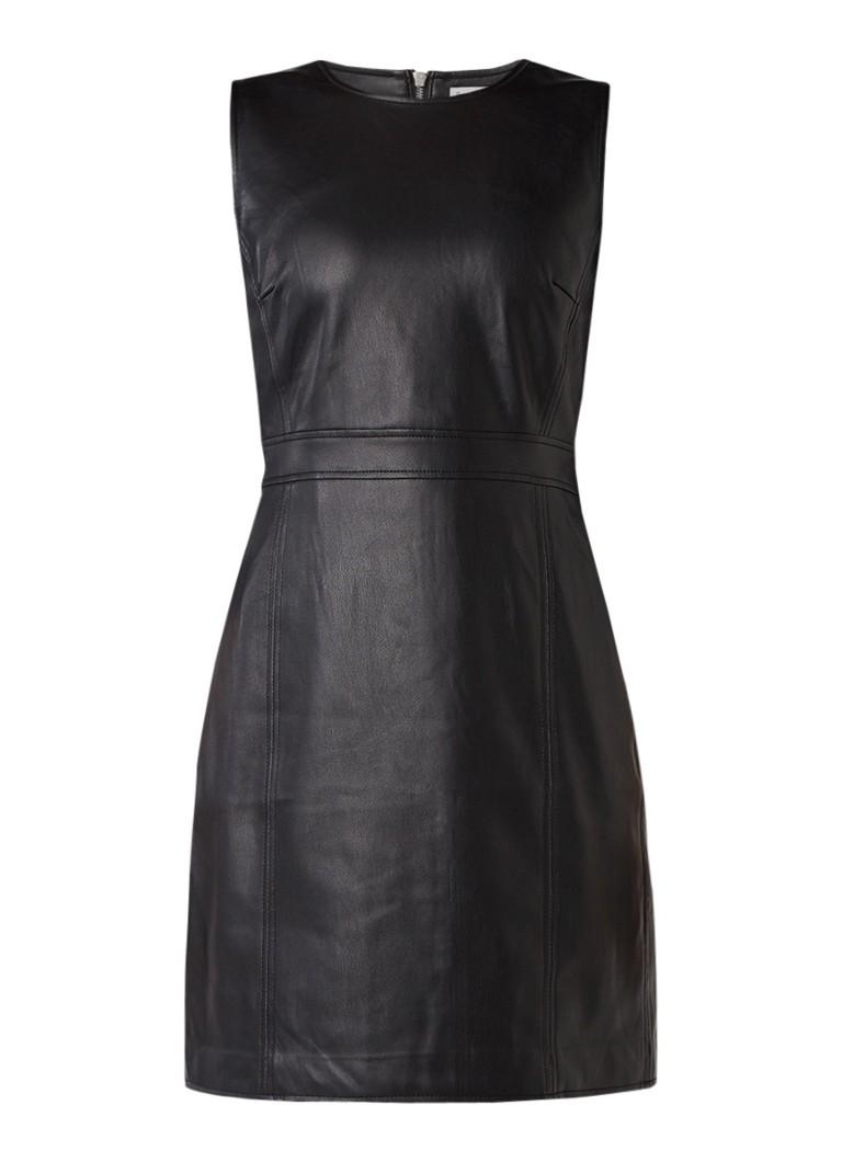 Warehouse A-lijn jurk van imitatieleer zwart