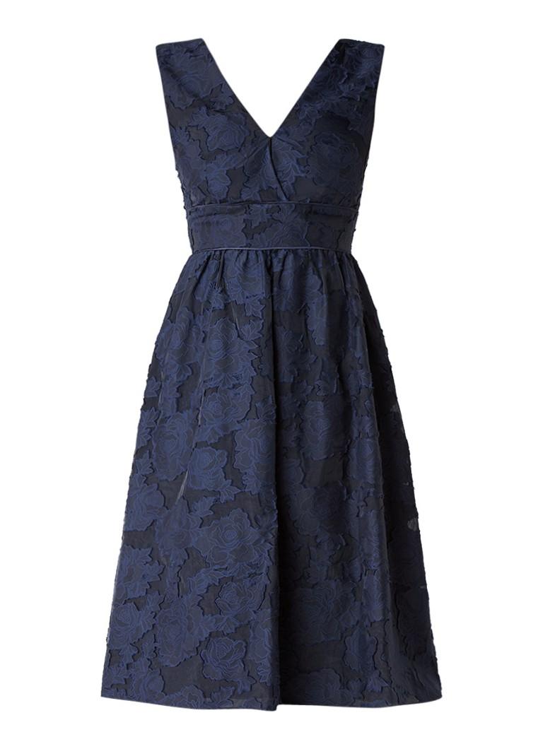 Warehouse A-lijn jurk met burn out-dessin donkerblauw