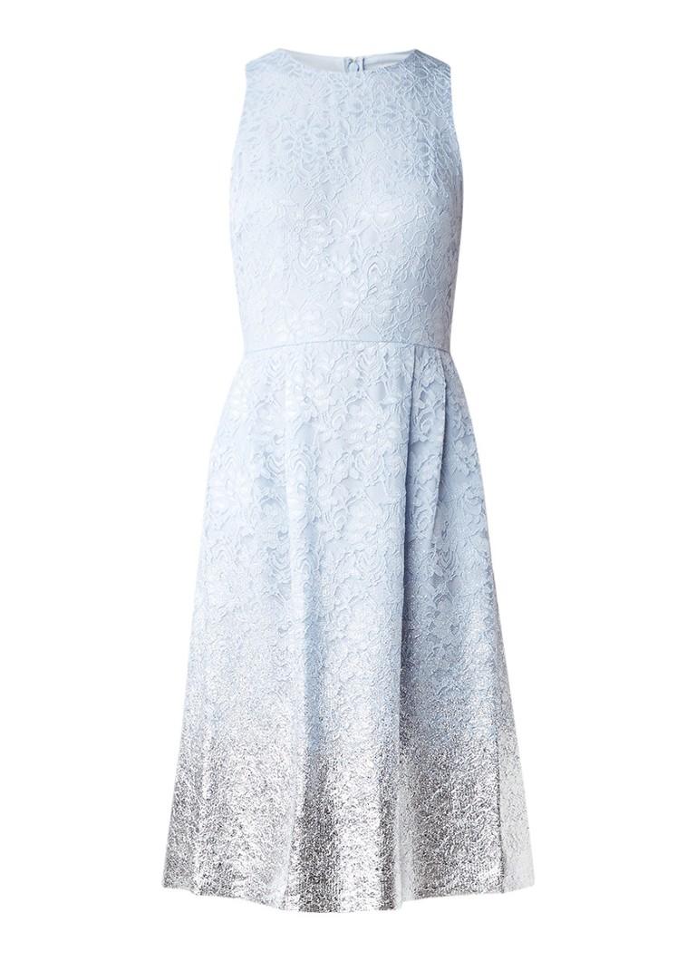 Warehouse Mouwloze jurk van kant met metallic finish lichtblauw