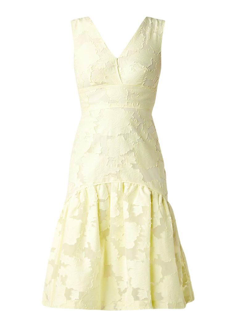 Warehouse A-lijn jurk met burn out-dessin citroengeel