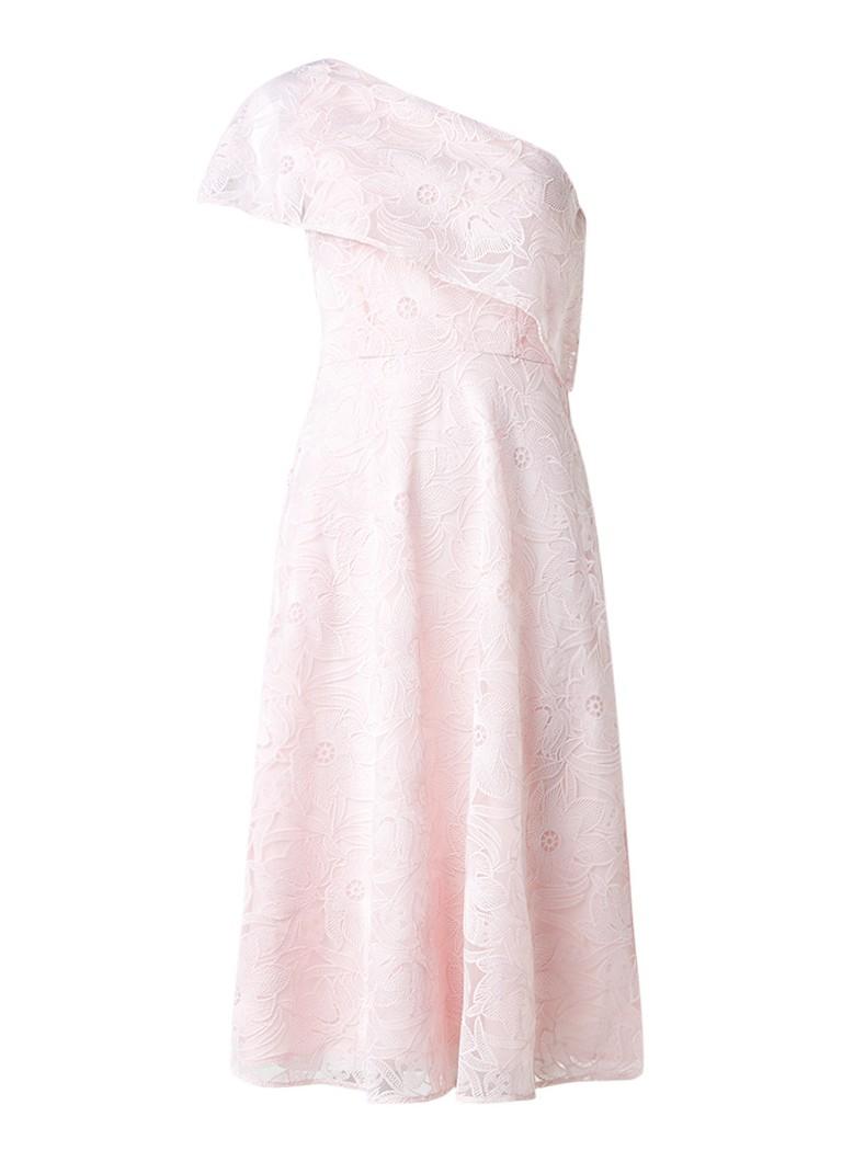 Warehouse One shoulder jurk van gebloemd kant lichtroze